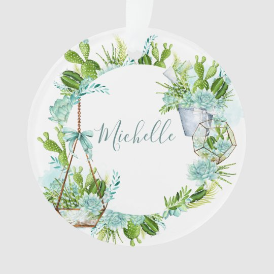Watercolor Glass Terrarium Succulents Ornament