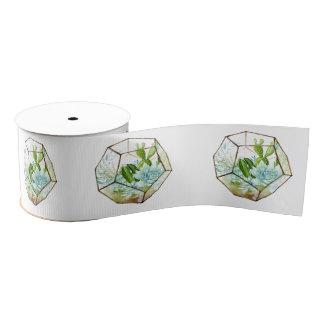 Watercolor Glass Terrarium Succulents Party Grosgrain Ribbon
