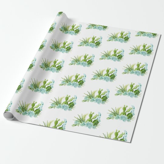Watercolor Glass Terrarium Succulents Party Wrapping Paper