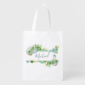 Watercolor Glass Terrarium Succulents Reusable Grocery Bag