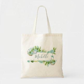 Watercolor Glass Terrarium Succulents Tote Bag