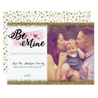 Watercolor Glitter Be Mine Valentines Photo Card
