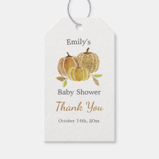 Watercolor Glitter Pumpkin Fall Thank You Tags