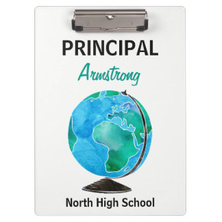 Watercolor Globe Personalized School Principal Clipboard