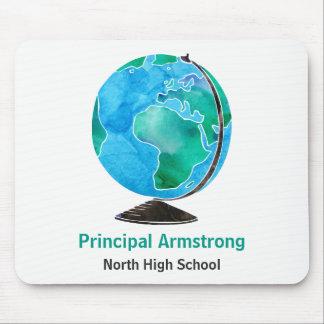 Watercolor Globe Personalized School Principal Mouse Pad