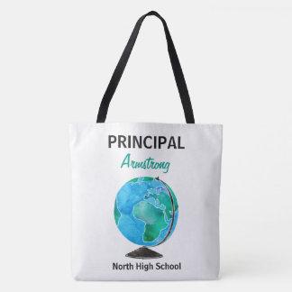 Watercolor Globe Personalized School Principal Tote Bag