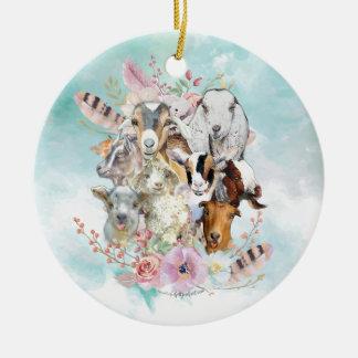 Watercolor GOAT Breeds Collage | GetYerGoat™ Ceramic Ornament