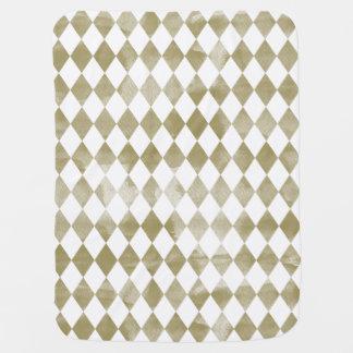 Watercolor Gold Diamonds Baby Blanket