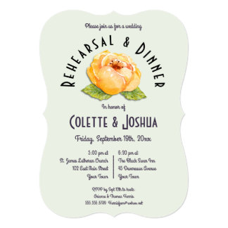 Watercolor Gold Floral Rehearsal Dinner Invitation