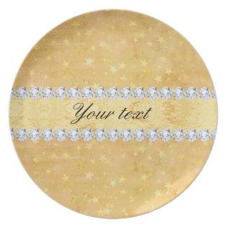 Watercolor Gold Foil Stars Diamonds Dinner Plate