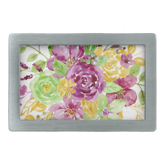 Watercolor gold plummy bouquet belt buckles