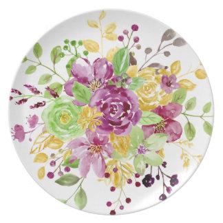 Watercolor gold plummy bouquet dinner plate