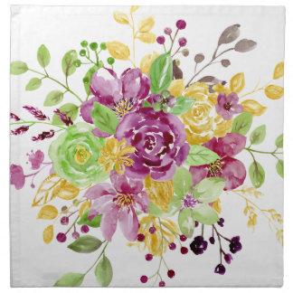 Watercolor gold plummy bouquet napkin