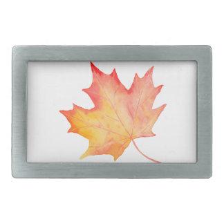 Watercolor Golden Maple Leaf Belt Buckles