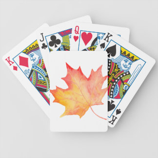 Watercolor Golden Maple Leaf Bicycle Playing Cards