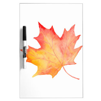 Watercolor Golden Maple Leaf Dry Erase Whiteboards