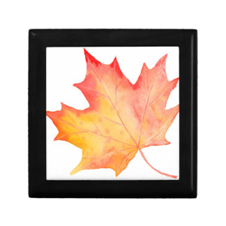 Watercolor Golden Maple Leaf Gift Box