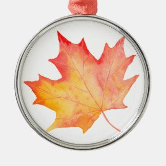 Watercolor Golden Maple Leaf Metal Ornament