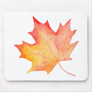 Watercolor Golden Maple Leaf Mouse Pad