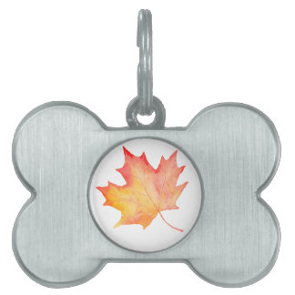 Watercolor Golden Maple Leaf Pet Name Tag