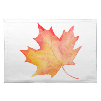 Watercolor Golden Maple Leaf Placemat
