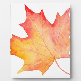 Watercolor Golden Maple Leaf Plaque