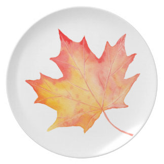 Watercolor Golden Maple Leaf Plate