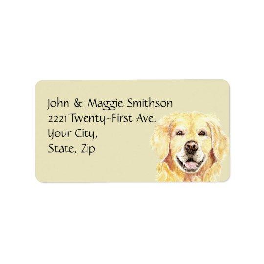Watercolor Golden Retriever Dog Pet Animal Address Label