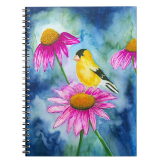 Watercolor goldfinch and cone flower Journal Notebooks