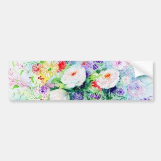 Watercolor Good Mood Flowers Bumper Sticker