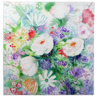 Watercolor Good Mood Flowers Napkin
