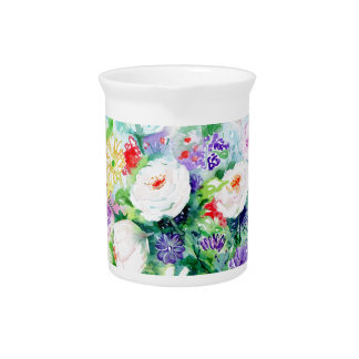 Watercolor Good Mood Flowers Pitcher