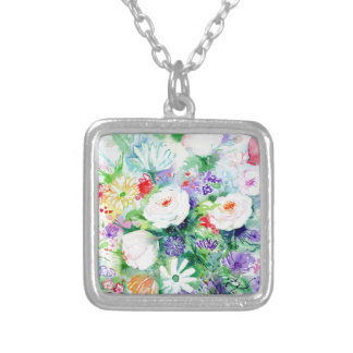 Watercolor Good Mood Flowers Silver Plated Necklace