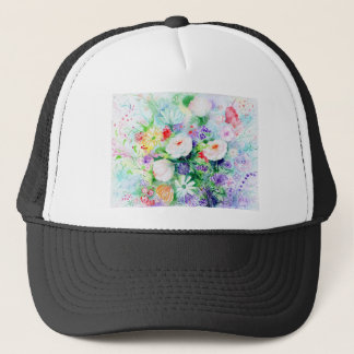 Watercolor Good Mood Flowers Trucker Hat