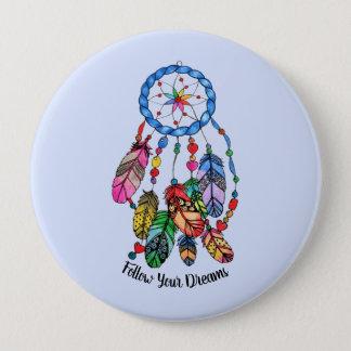 Watercolor gorgeous rainbow dream catcher 10 cm round badge