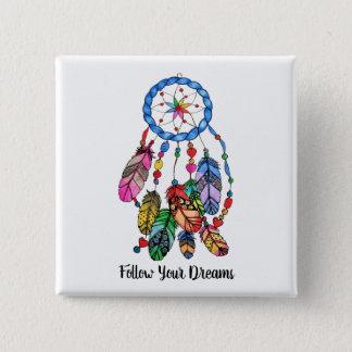 Watercolor gorgeous rainbow dream catcher 15 cm square badge
