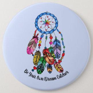 Watercolor gorgeous rainbow dream catcher 6 cm round badge