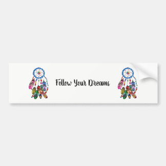 Watercolor gorgeous rainbow dream catcher bumper sticker