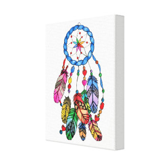 Watercolor gorgeous rainbow dream catcher canvas print
