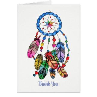 Watercolor gorgeous rainbow dream catcher card