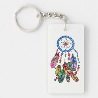 Watercolor gorgeous rainbow dream catcher key ring