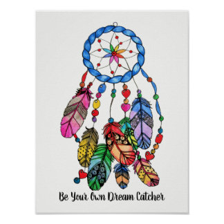 Watercolor gorgeous rainbow dream catcher poster