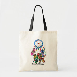 Watercolor gorgeous rainbow dream catcher tote bag