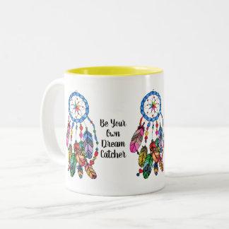 Watercolor gorgeous rainbow dream catcher Two-Tone coffee mug