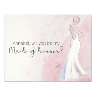 "Watercolor Gown ""Will you be my maid of honour"" 11 Cm X 14 Cm Invitation Card"