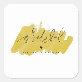 Watercolor Grateful Sticker - Golden