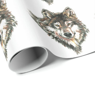 Watercolor Gray Wolf Head or Logo Wrapping Paper