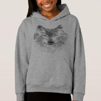 Watercolor Gray Wolf Light Hoodie