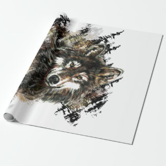 Watercolor  Gray Wolf Logo Animal Nature wolves Wrapping Paper