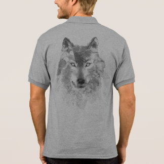 Watercolor Gray Wolf Polo Shirt